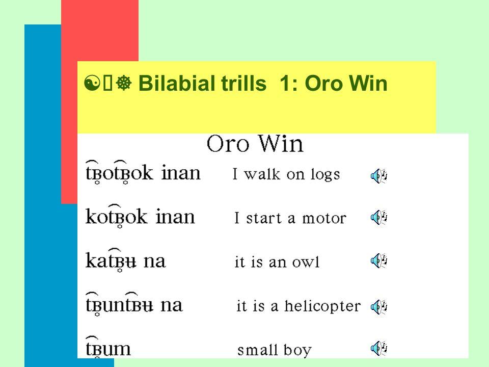 [õ] Bilabial trills 1: Oro Win